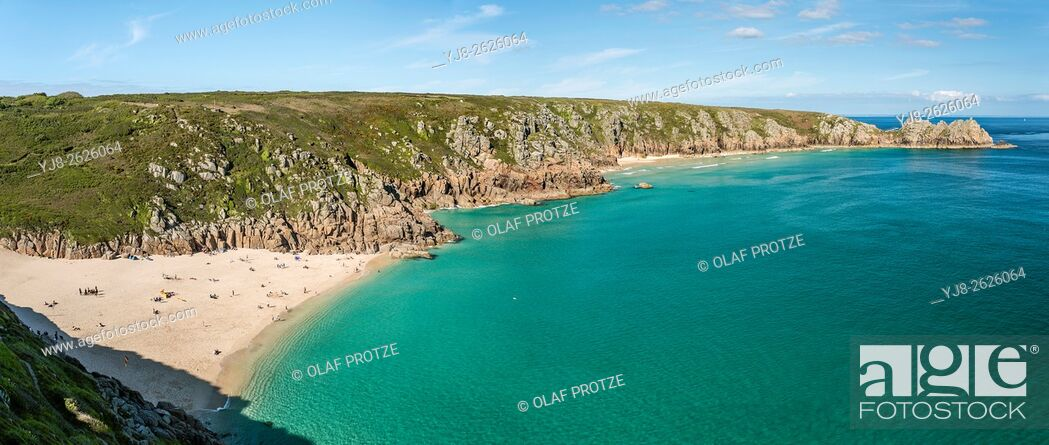 Stock Photo: View over Porthcurno Beach seen from Minack Open Air Theatre, Cornwall, England, UK.
