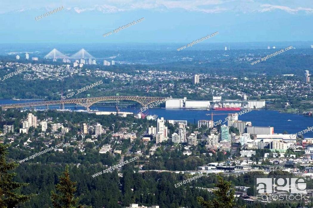 Stock Photo: Metro Vancouver area with Burrard Inlet.