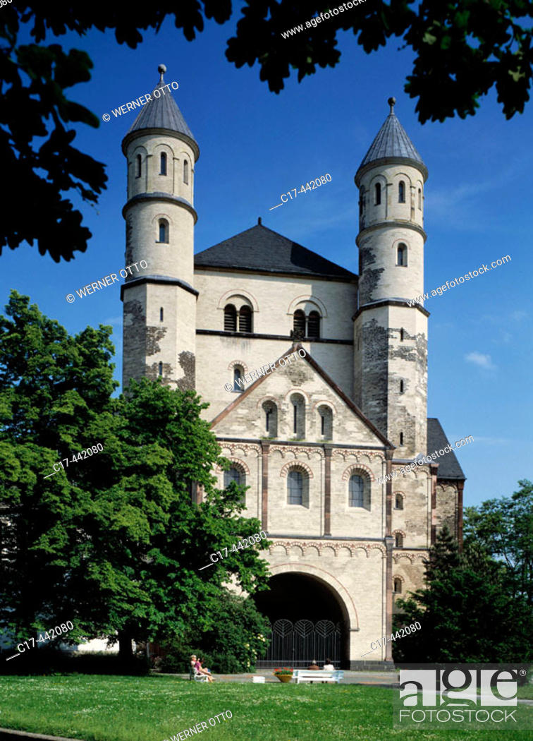 Stock Photo: Sankt Pantaleon church, romanesque; Cologne, North Rhine-Westphalia, Germany.