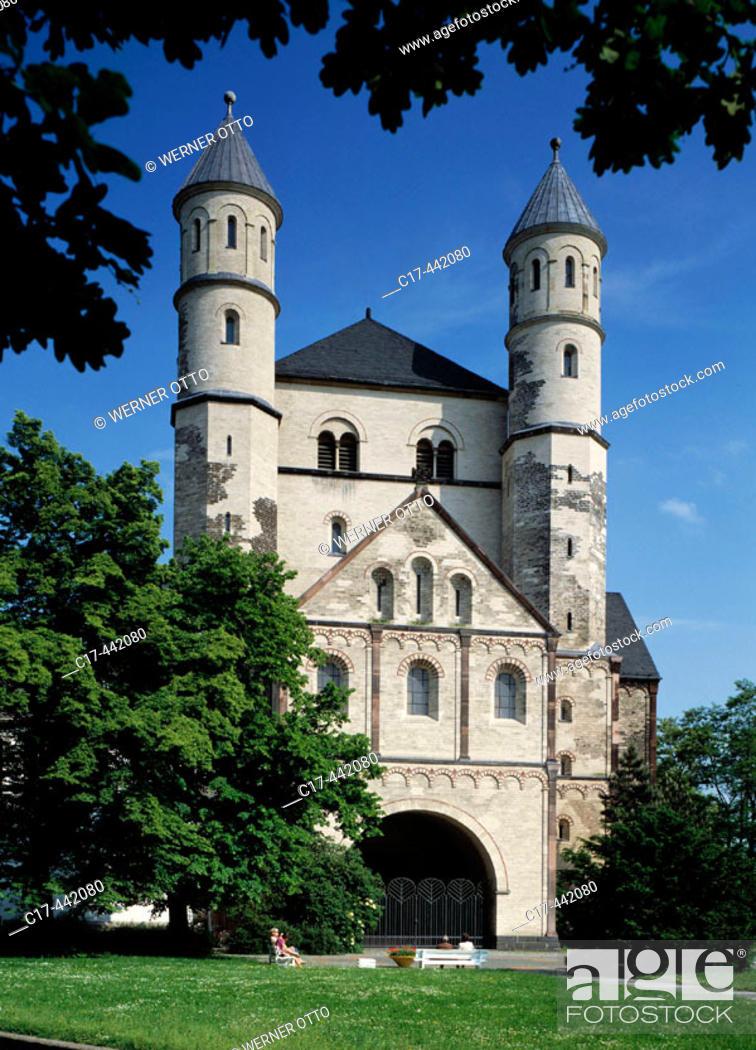 Stock Photo: Sankt Pantaleon church, romanesque; Cologne, North Rhine-Westphalia, Germany.