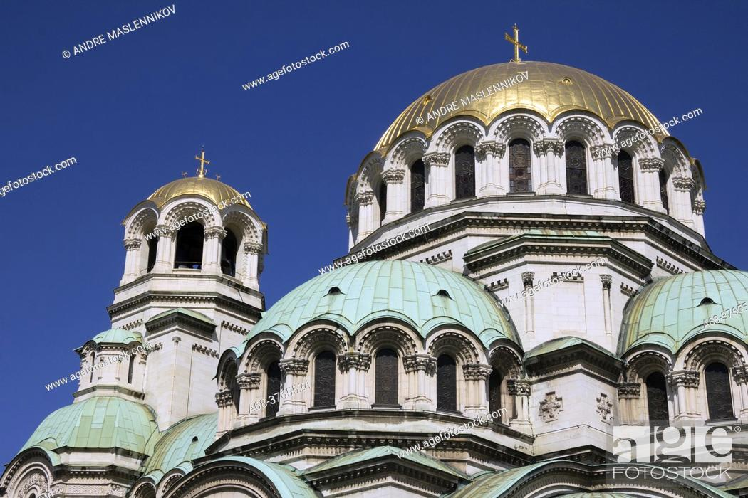 Stock Photo: Alexander Nevsky Cathedral, Sveti Aleksandar Nevski, is built in neo-Byzantine style and is the seat of the Patriarch of the Bulgarian Orthodox Church.