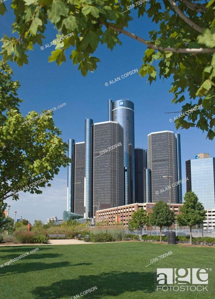 Stock Photo: Renaissance Center, Detroit. Michigan, USA.