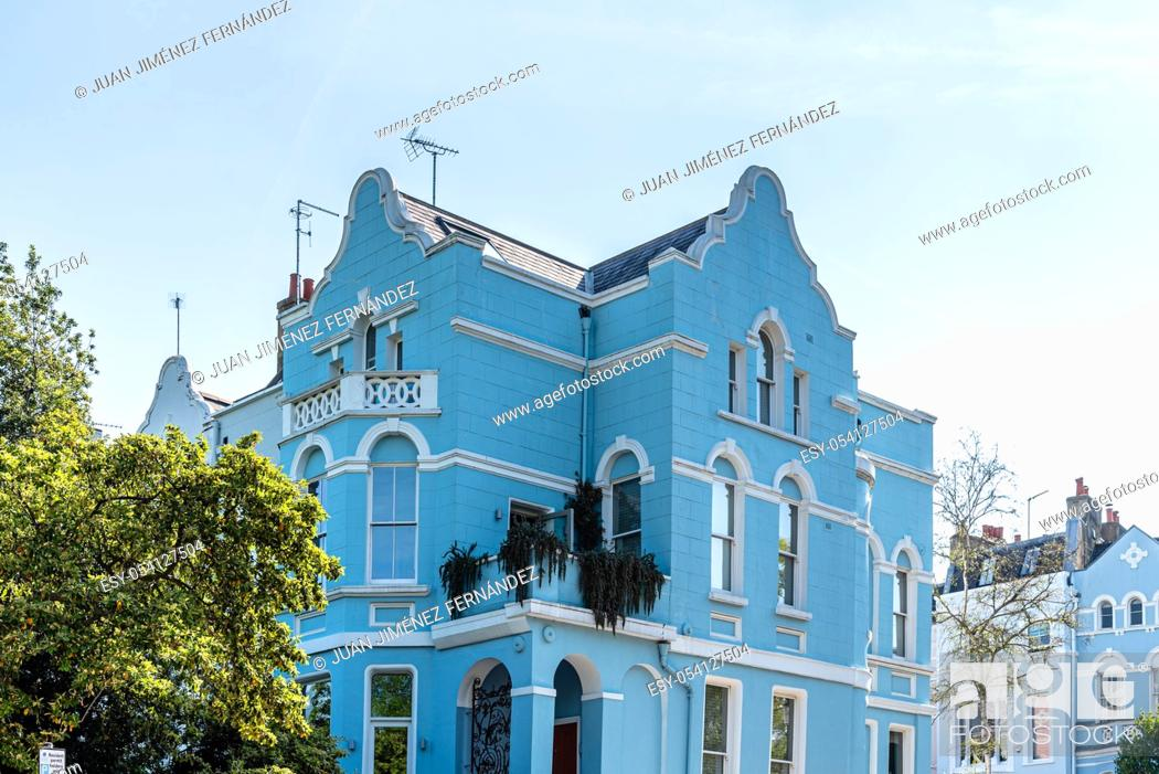Stock Photo: Colourful townhouse in Notting Hill, London, England UK.