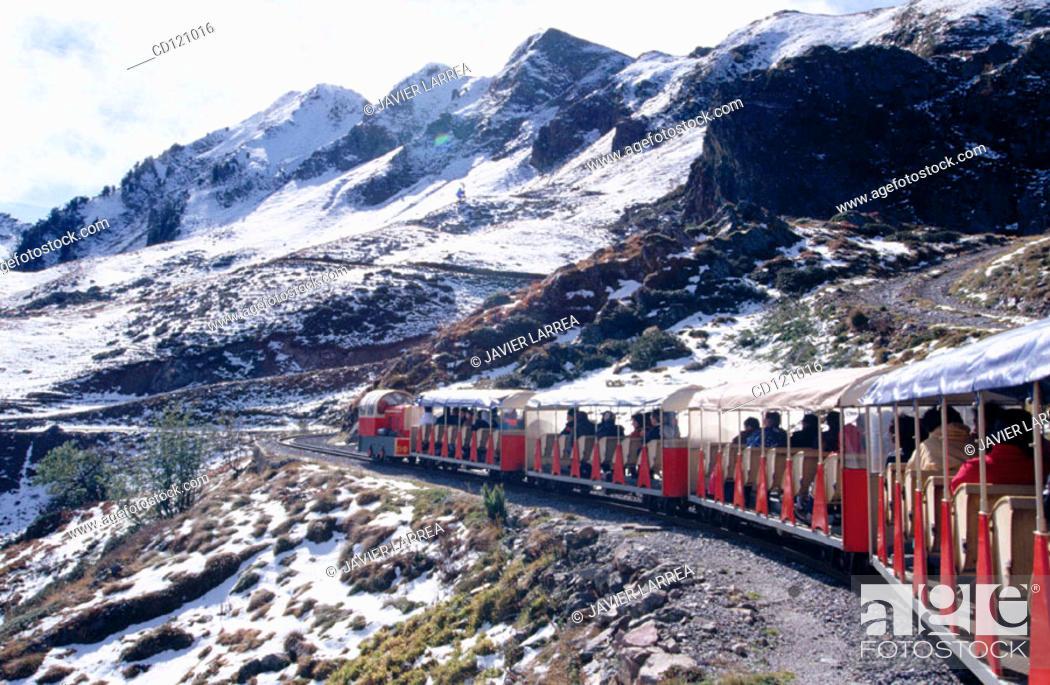 """Stock Photo: Touristic train """"Le petit train d'Artouste"""". Pyrenees Mountains National Park (Parc National Pyrénées). France."""