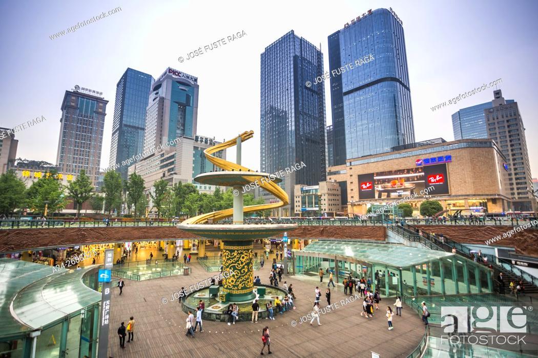 Stock Photo: China, Sichuan Province, Chengdu City, Tianfu Square.