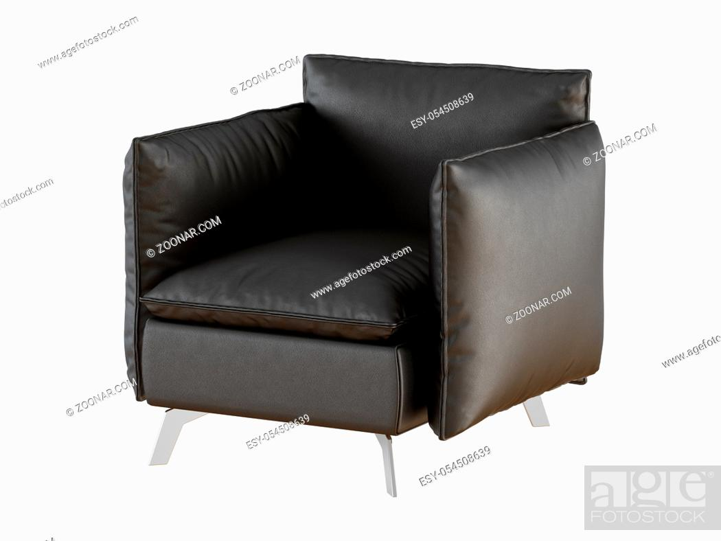 Stock Photo: Soft black armchair with iron legs on a white background.