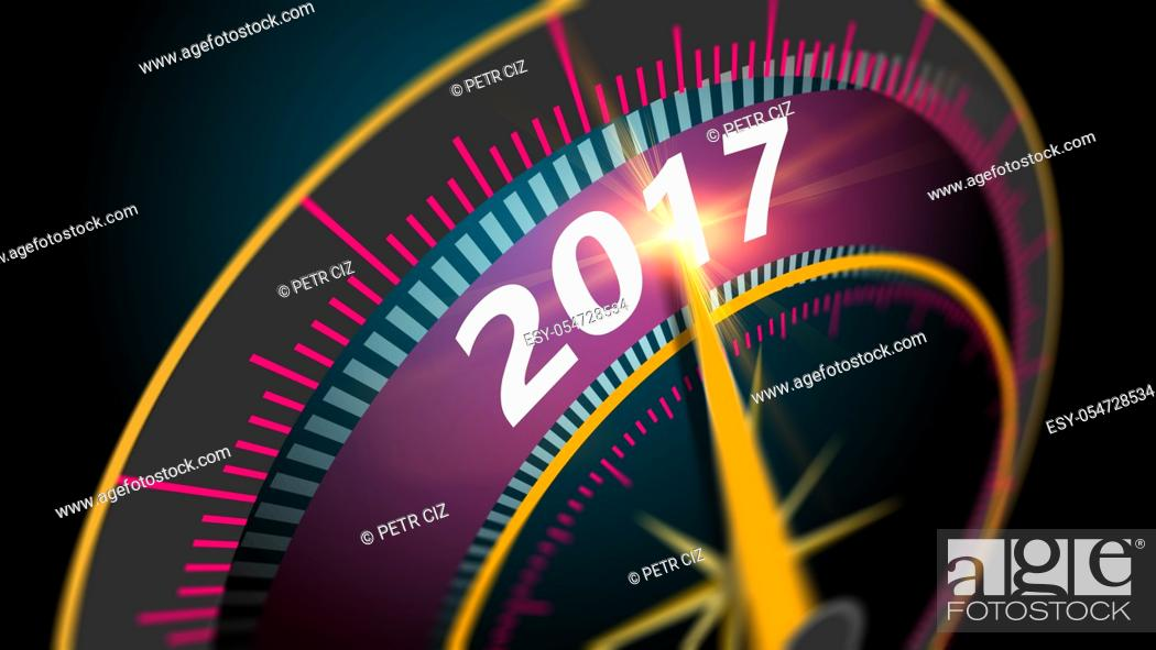 Stock Photo: Modern virtual speedometer showing in year 2017. celebration concept blurred background at high speed.