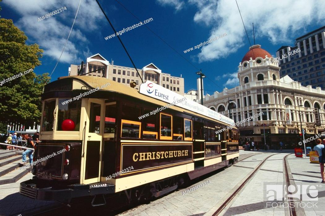 Stock Photo: New Zealand - South Island - Canterbury - Christchurch - the Cathedral Square -Tram.