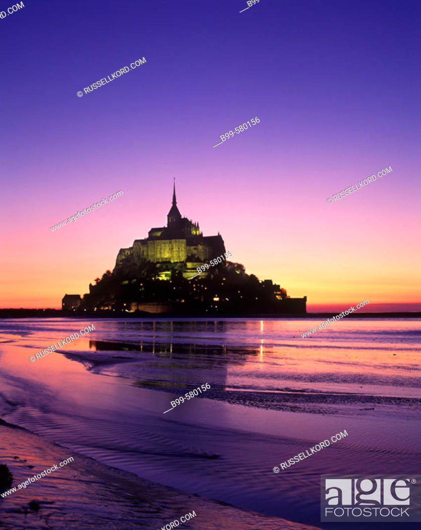 Stock Photo: Scenic Mont Saint Michel In May, Normandy, France.