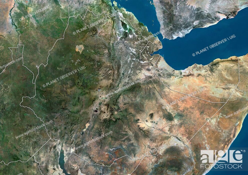 Stock Photo: Satellite view of Ethiopia and Djibouti (with country boundaries). This image was compiled from data acquired by Landsat satellites.