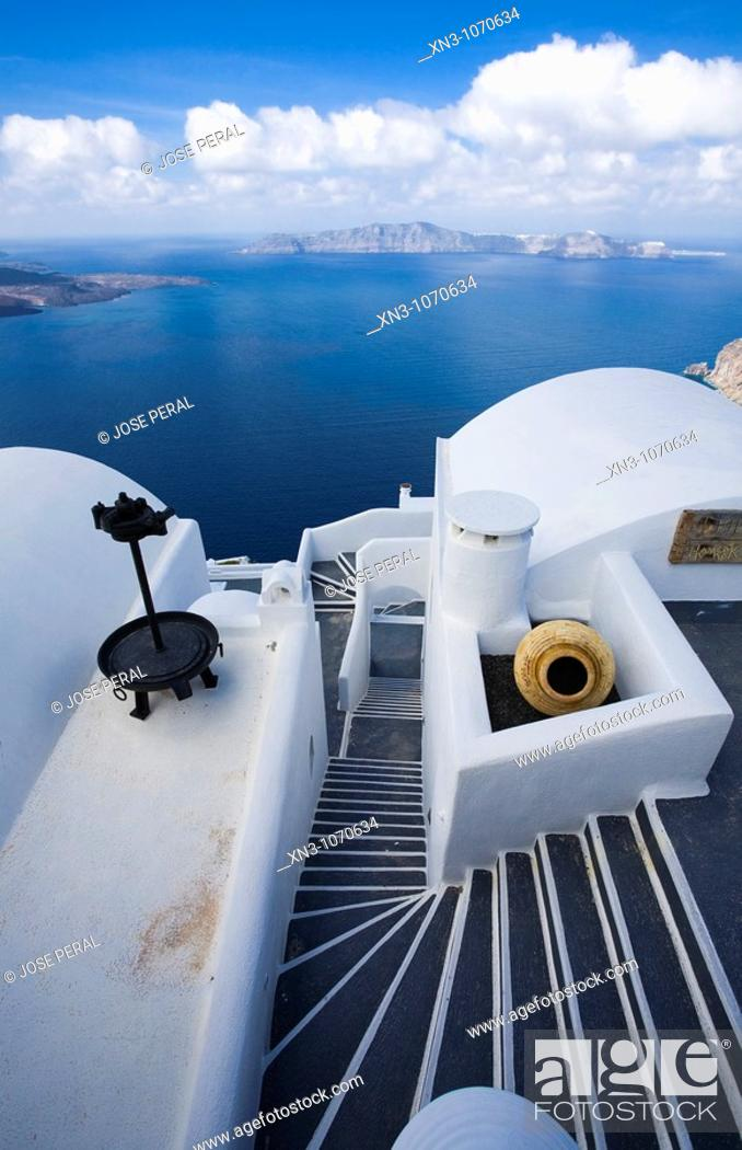 Stock Photo: Thira (Fira). Santorini. Cyclades Islands. Greece.