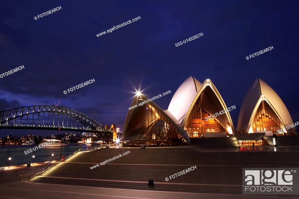 Stock Photo: Opera House at night, Sydney, Australia.