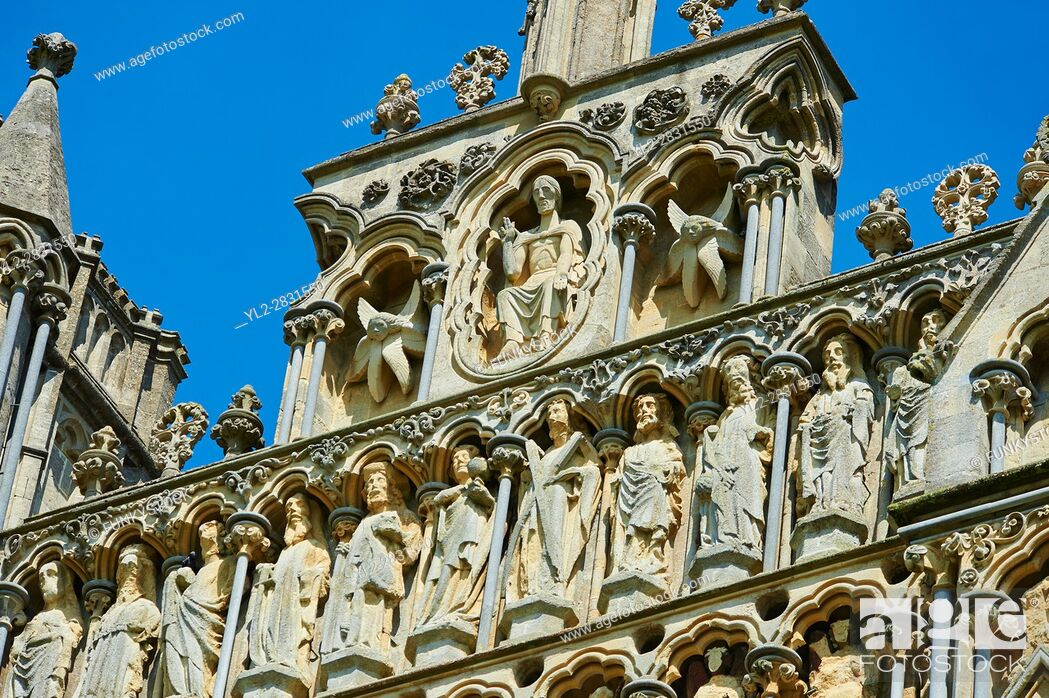 Stock Photo: Statues on the facade of the the medieval Wells Cathedral built in the Early English Gothic style in 1175, Wells Somerset, England.