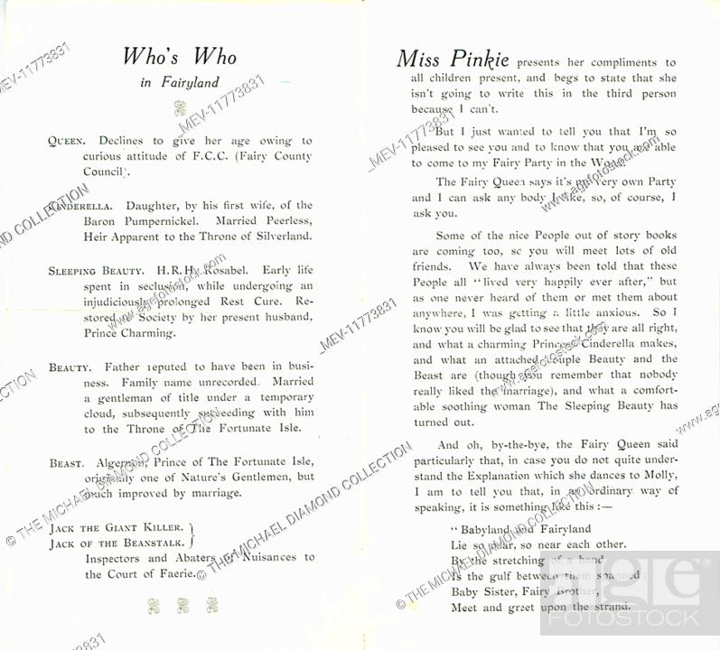 Middle pages of a promotional flyer for Pinkie and the Fairies by W