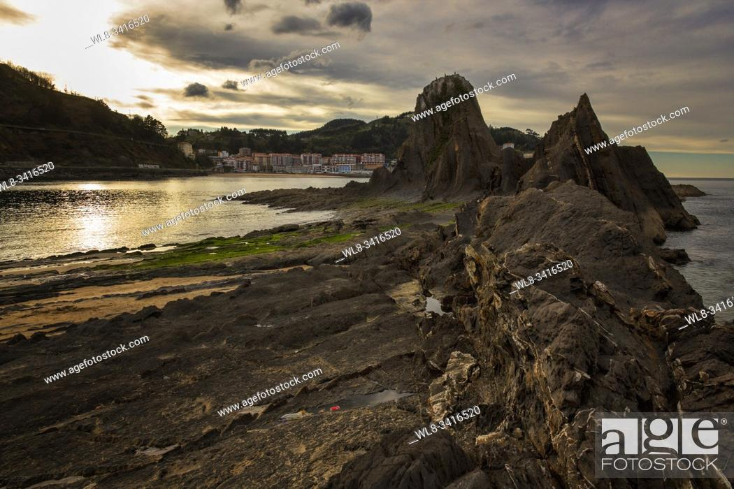 Stock Photo: Sakoneta beach in Basque country, Spain. Typical beach from this zone.