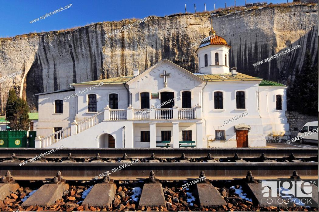 Stock Photo: Inkerman is the extreme south-west of the Crimean peninsula, territory of city of Sevastopol  Inkerman is a 'spelaean city' on the Monasterial rock.