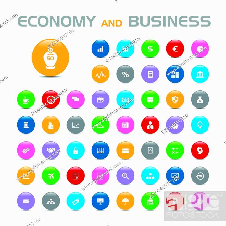 Stock Vector: 50 Economy and business bubble icons on white background.