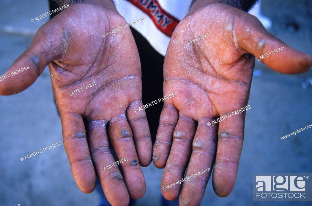 Stock Photo: Hands of drummer in Hamel street HAVANA Cuba.