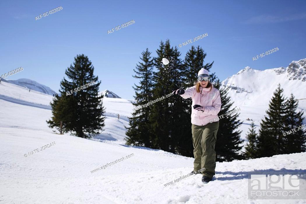 Stock Photo: Snowball Fight.
