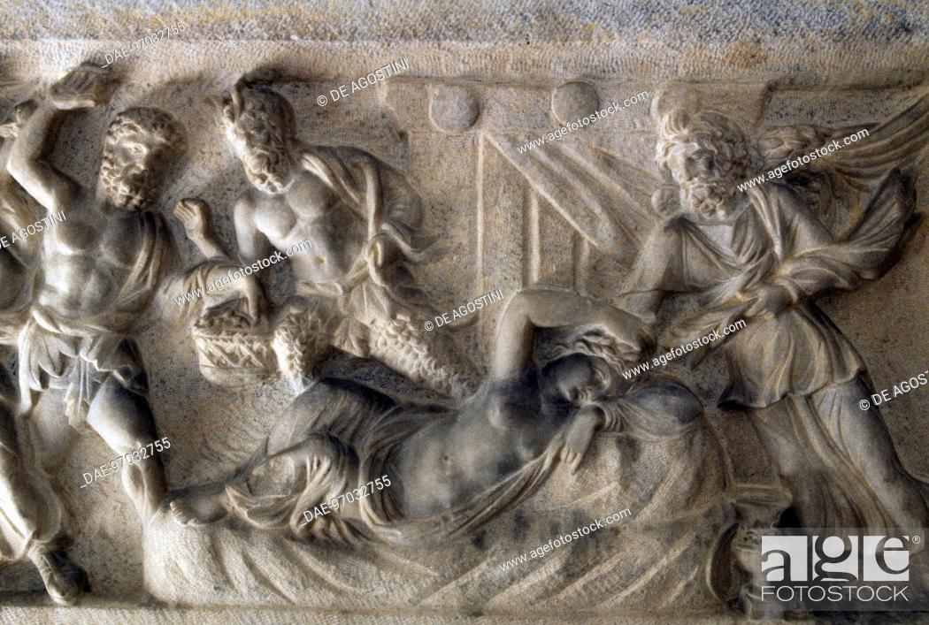 Stock Photo: Arianna asleep protected by Hypnos, god of sleep, detail of a marble sarcophagus with a relief depicting the life of Ariadne at Naxos, from Alexandria, Egypt.