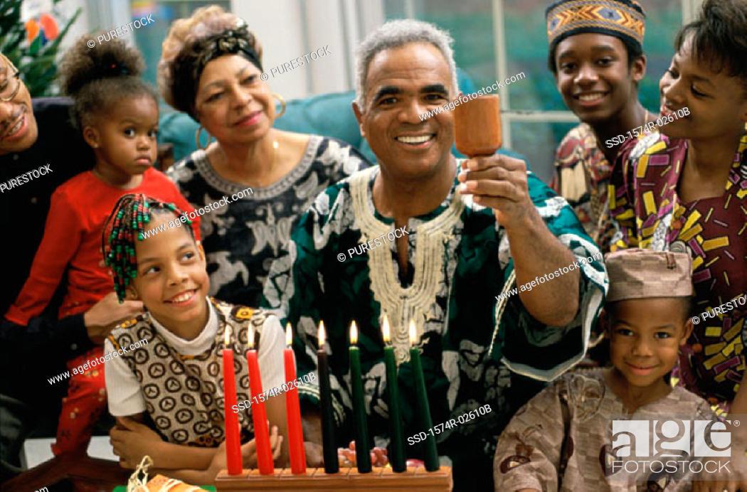 Stock Photo: Family celebrating Kwanzaa.