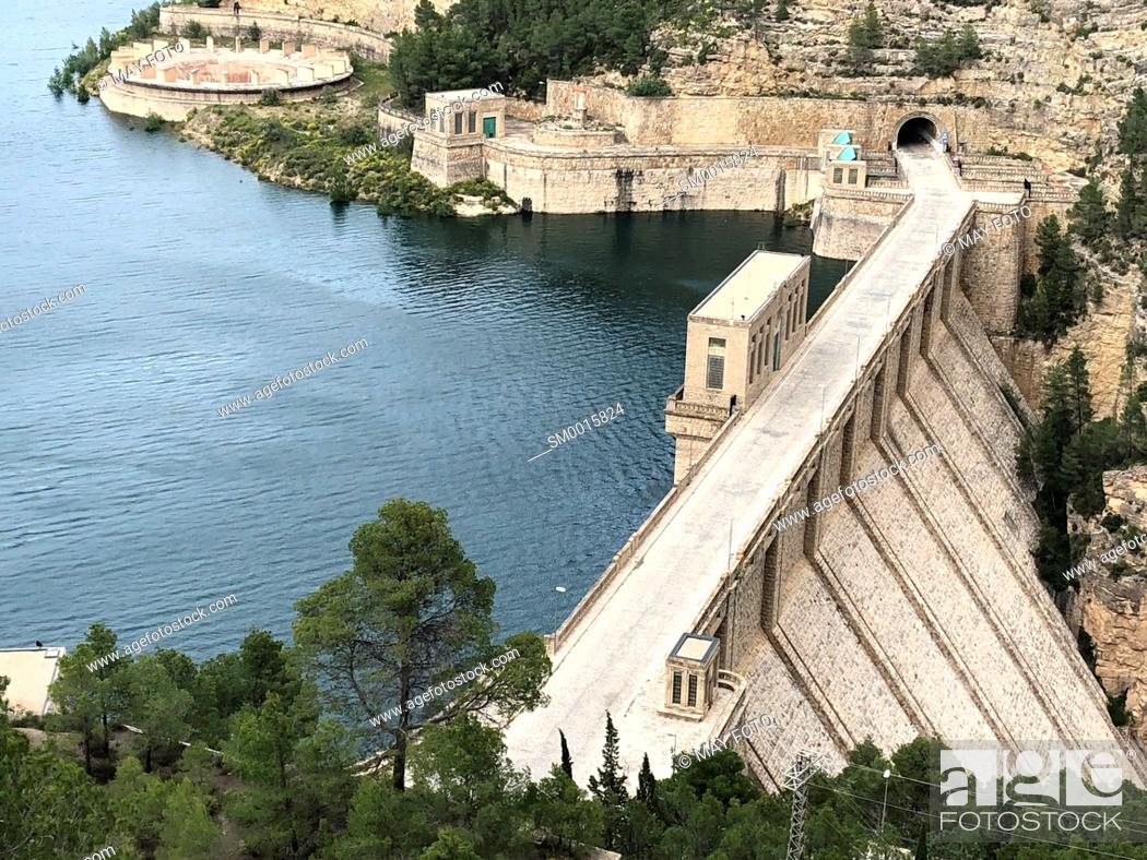 Stock Photo: Benageber dam, Utiel, Spain, Europe.