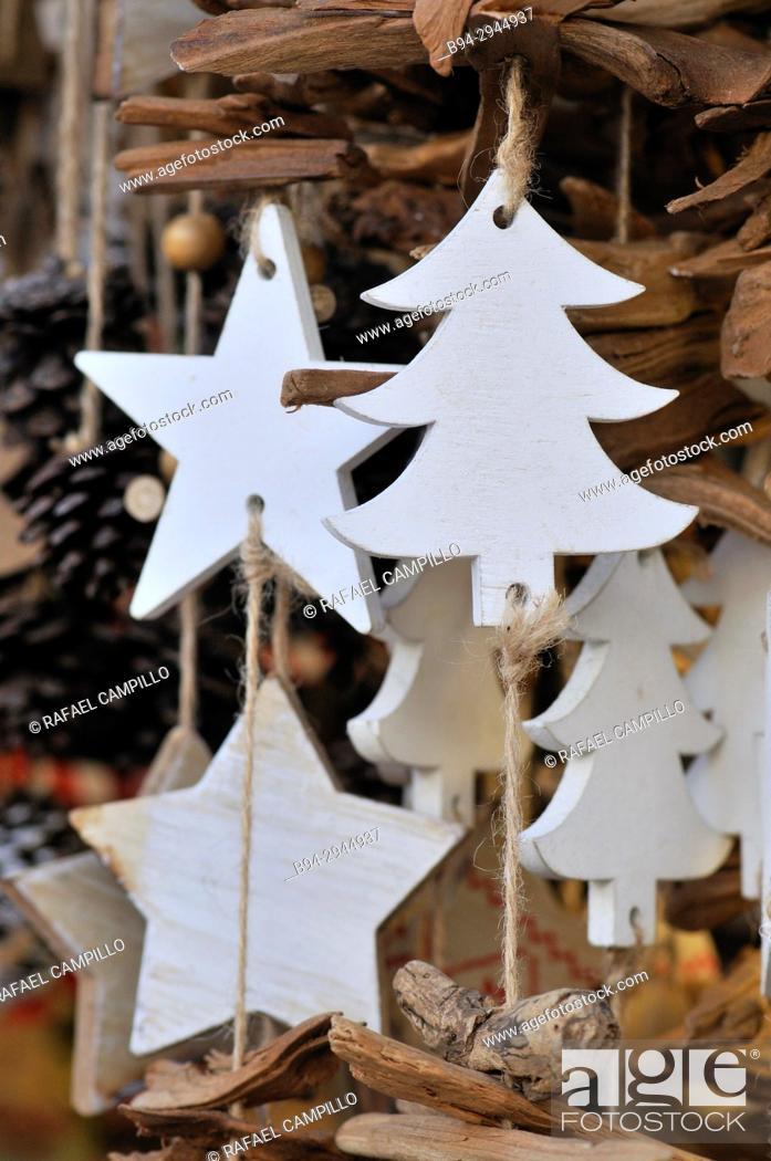Stock Photo: Chritsmas decoration. Sta Llúcia Christmas fair. Barcelona. Catalonia. Spain.