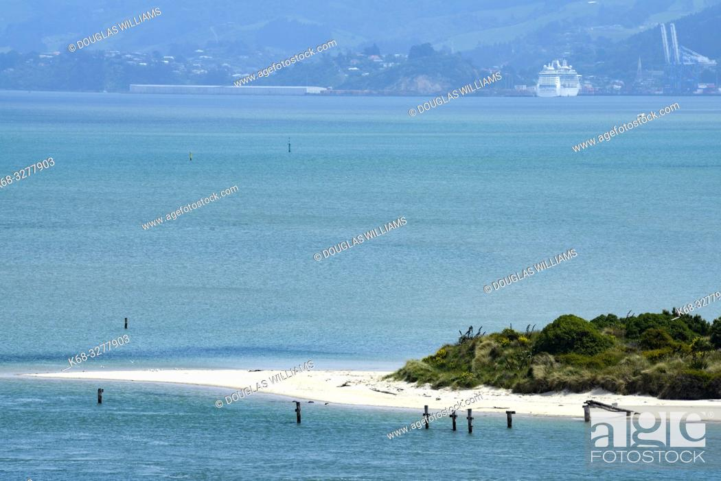Stock Photo: View from the Otago Peninsula toward Port Chalmers, New Zealand.