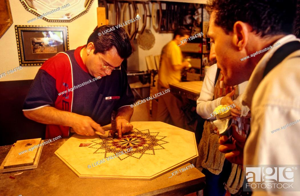 Stock Photo: Craftsman of taracea On the grounds of the Alhambra Granada  Andalucia, Spain.