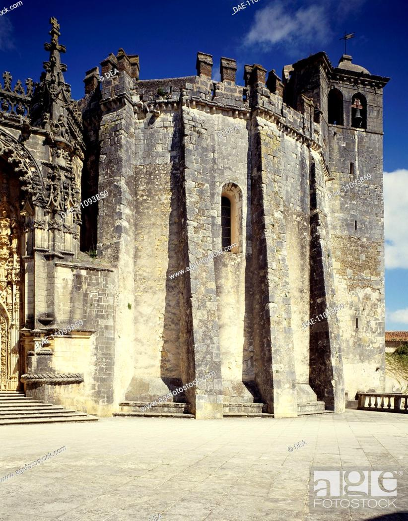 Stock Photo: The Rotunda of the Templars, 1160, by Gualdim Pais, at the Convent of Christ (UNESCO World Heritage List, 1983), Tomar, Portugal.