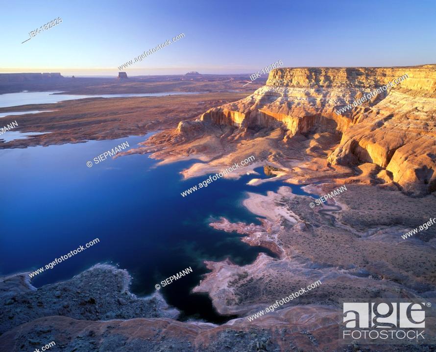 Stock Photo: Lake Powell, Romana Mesa morning light, Glen Canyon National Recreation Area, Utah, USA.