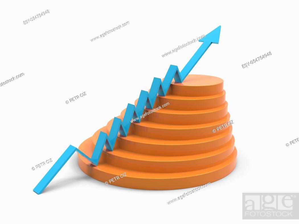 Stock Photo: Blue arrow business progress marketing graph.