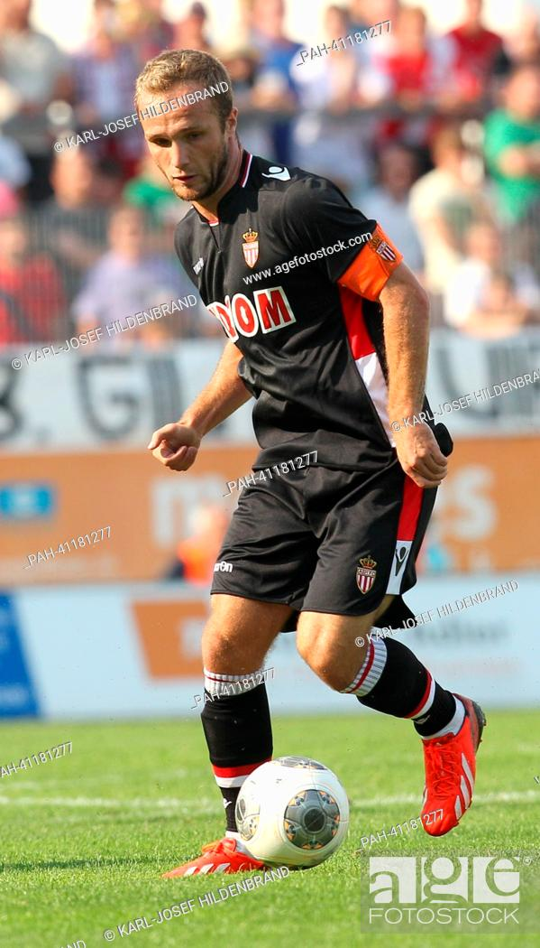 Stock Photo: Monaco's player Valere Germain in action during the soccer test match between FC Augsburg and AS Monaco in Memmingen, Germany, 20 July 2013.