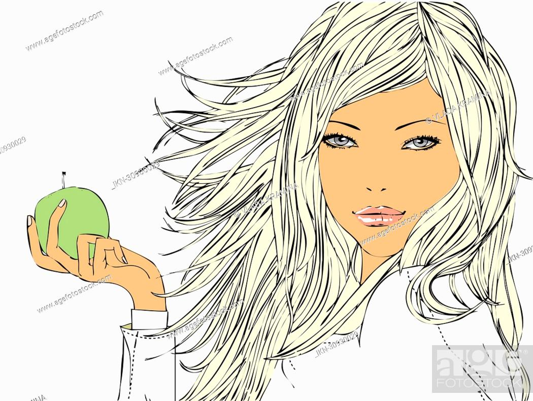 Imagen: Woman holding green apple.