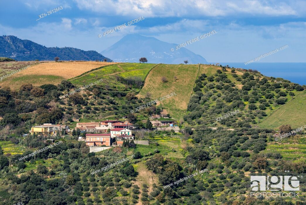 Stock Photo: Landscape and Vulcano island on the background, from the road SP 108, Province of Messina, Sicily, Italy, Europe.