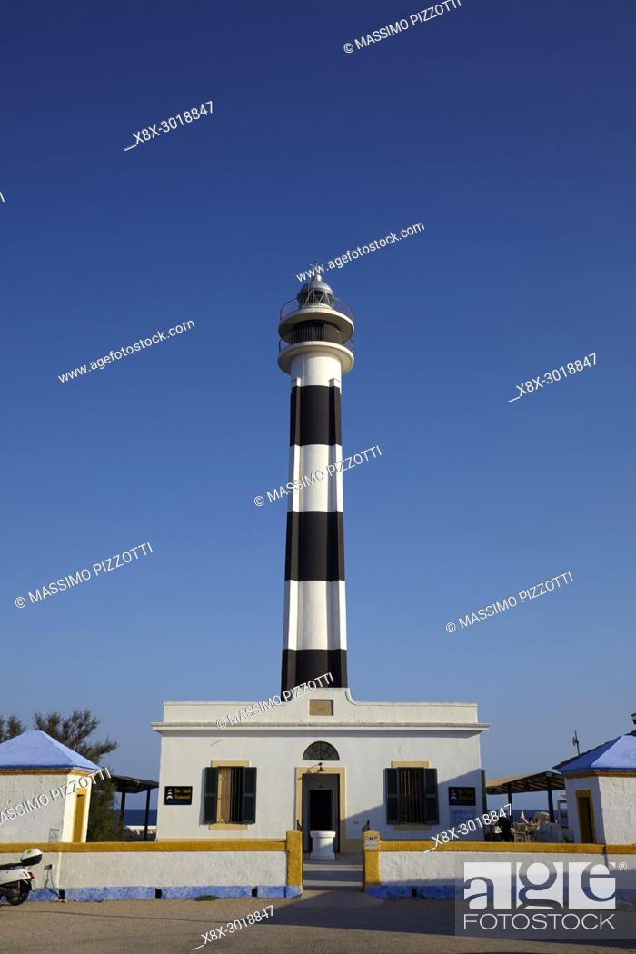 Stock Photo: Cap d'Artrutx Lighthouse, located in the extreme south-western point of the island adjacent to the larger resort of Cala en Bosch, Menorca,Balearic Islands.