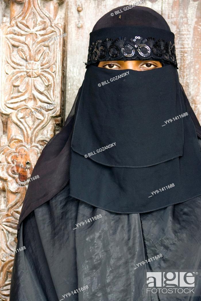 Stock Photo: Portrait of woman in Lamu Town - Lamu Island, Kenya.
