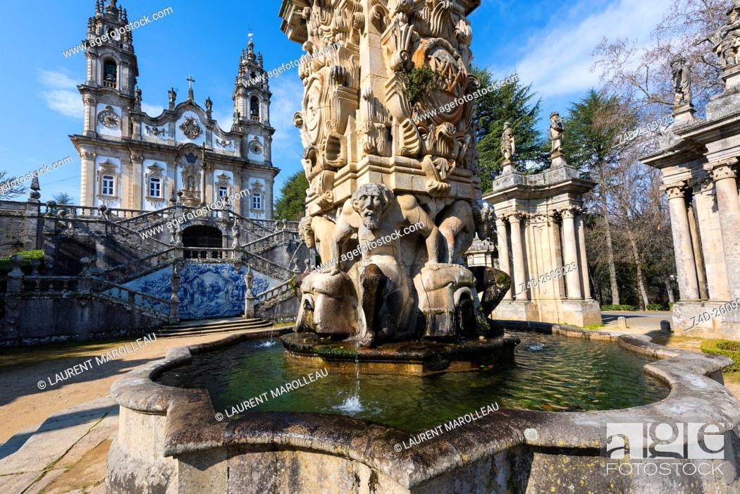 Fountain of the giants in courtyard of the kings at sanctuary of our stock photo fountain of the giants in courtyard of the kings at sanctuary of our lady of remedies lamego viseu district norte region portugal europe publicscrutiny Image collections