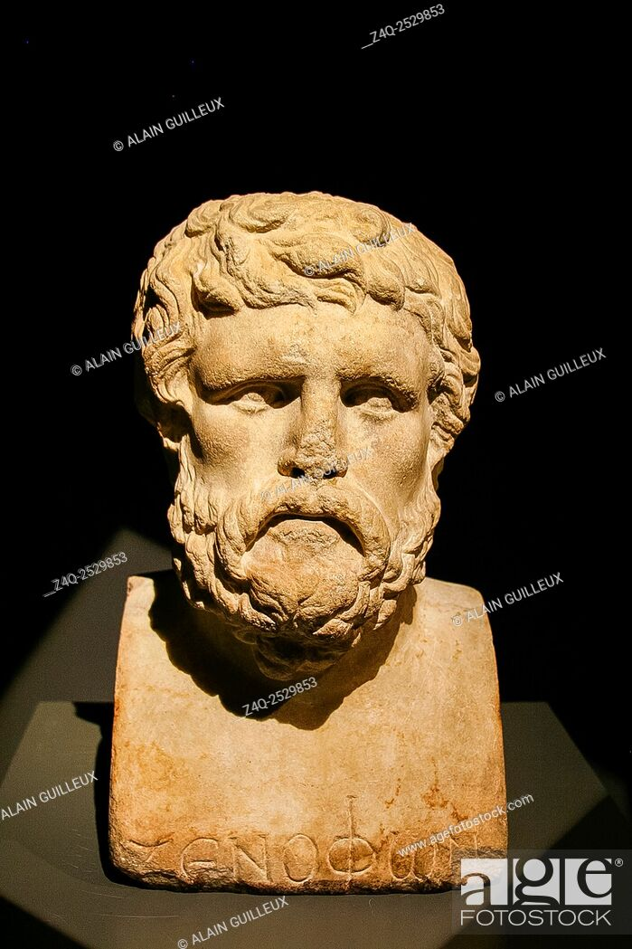 Stock Photo: Egypt, Alexandria, Bibliotheca Alexandrina, Archeological Museum, bust of Xenophon, marble, Greek period, with name written.