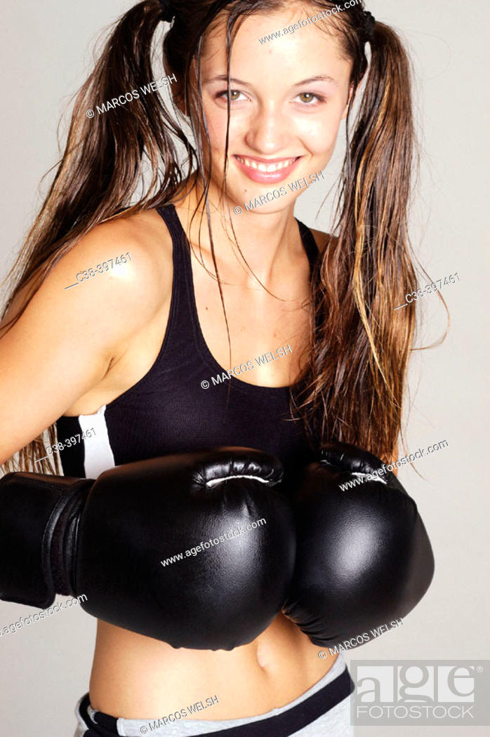 Stock Photo: girl boxer.