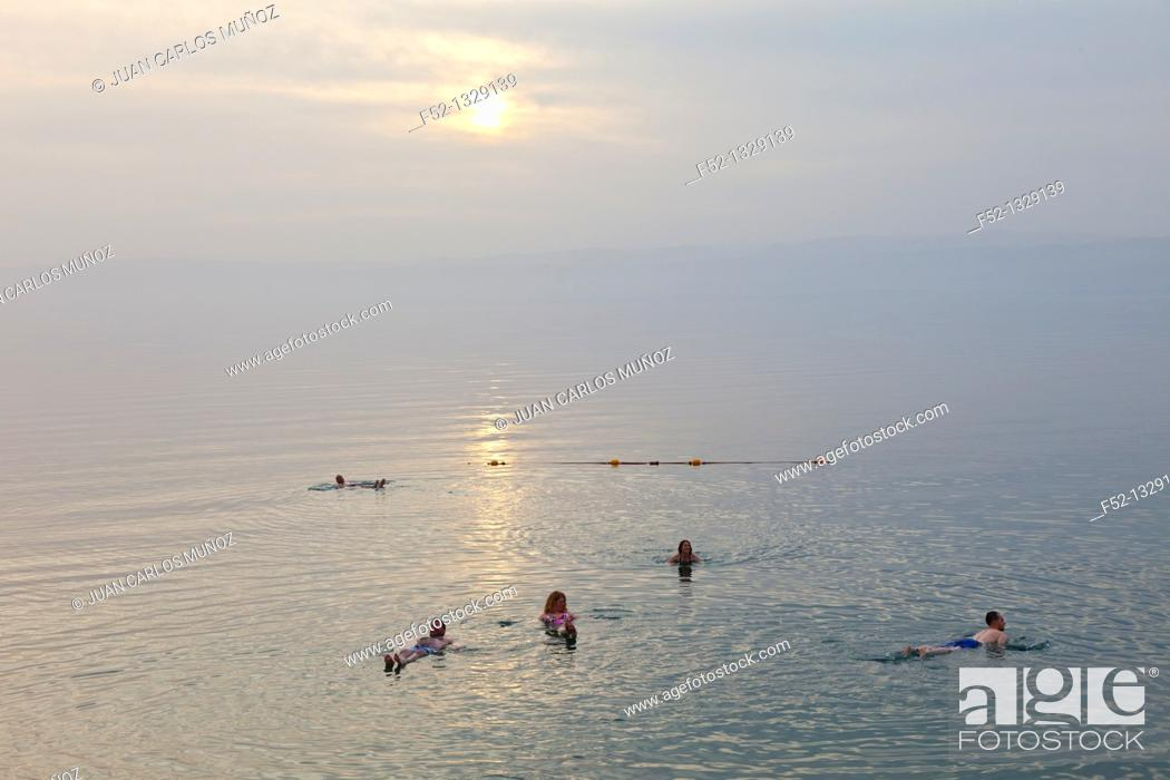 Stock Photo: Floating in the Dead Sea, Jordan, Middle East.