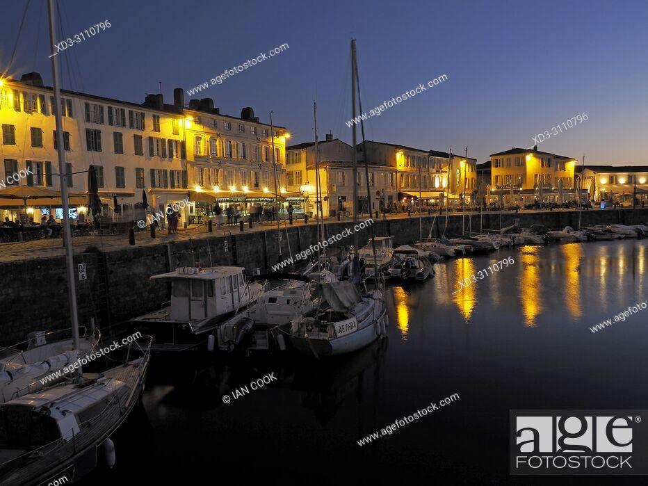 Stock Photo: harbour and Quai Job Foran, Saint-Martin-de-Re, Ile de Re, Charente-Maritime Department, Nouvelle Aquitaine, France.