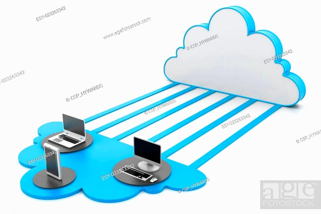 Stock Photo: Cloud computing devices.