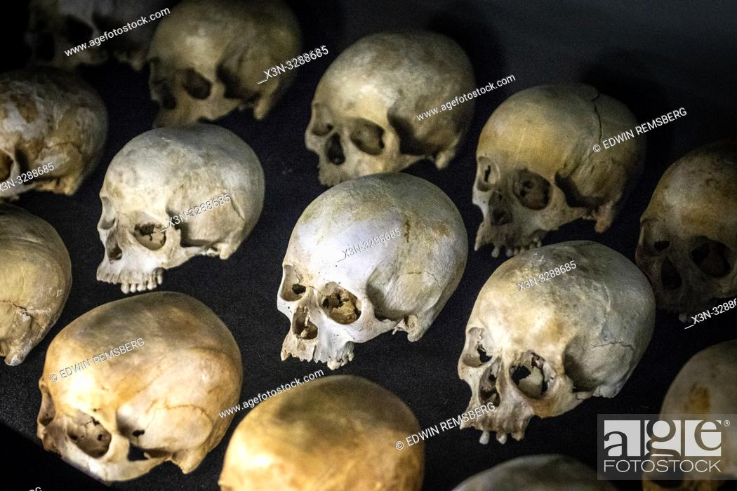 Stock Photo: Damaged skulls of known victims of the 1994 Rwandan Genocide remain interred inside of of the Kigali Genocide Memorial as a testament to those lost in the.