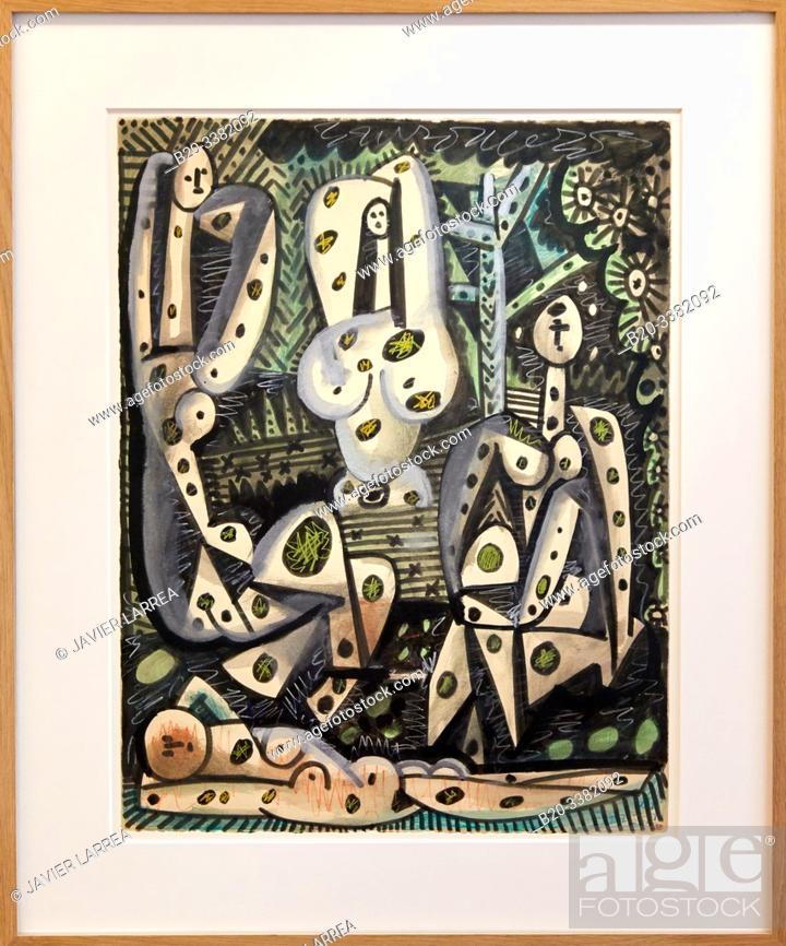 """Stock Photo: """"Quatre femmes dans un paysage"""", 1955, Pablo Picasso, Picasso Museum, Paris, France, Europe."""