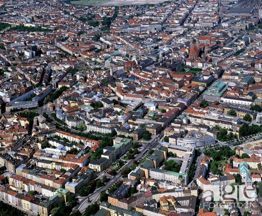 Imagen: Aerial picture, historic centre, Alstadtring circular road, State Museum of Ethnology, Bavarian State Opera, Upper Bavaria, Germany, Europe.