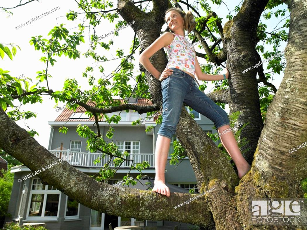 Stock Photo: Girl in a tree, smiling.