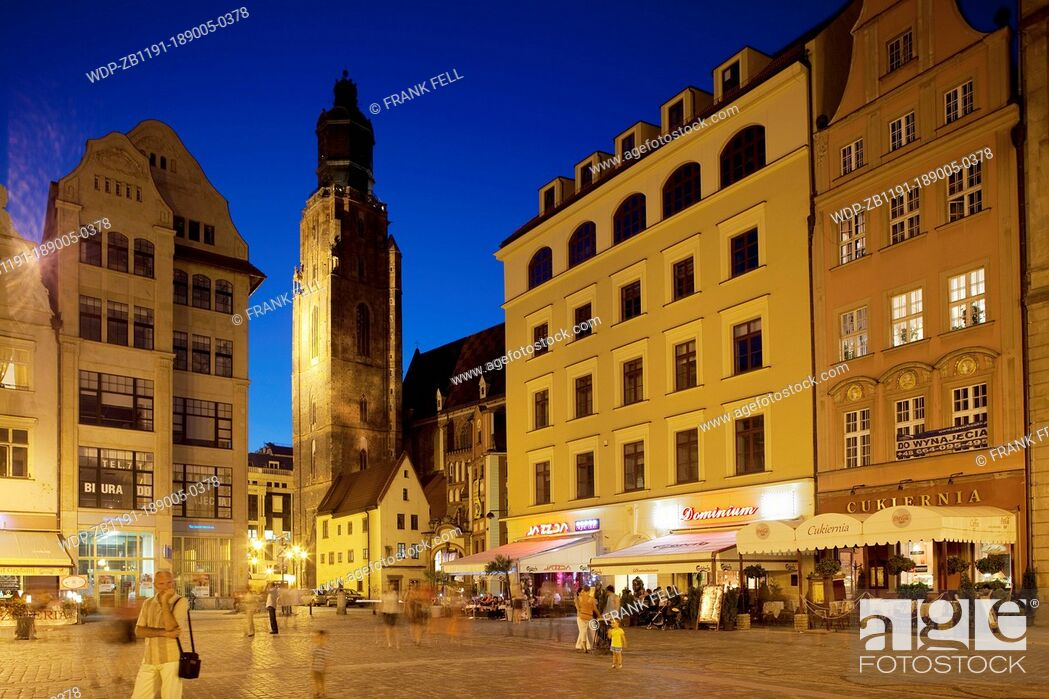 Imagen: Europe, Poland, Silesia, Wroclaw, Rynek, Old Town Square, Restaurants.