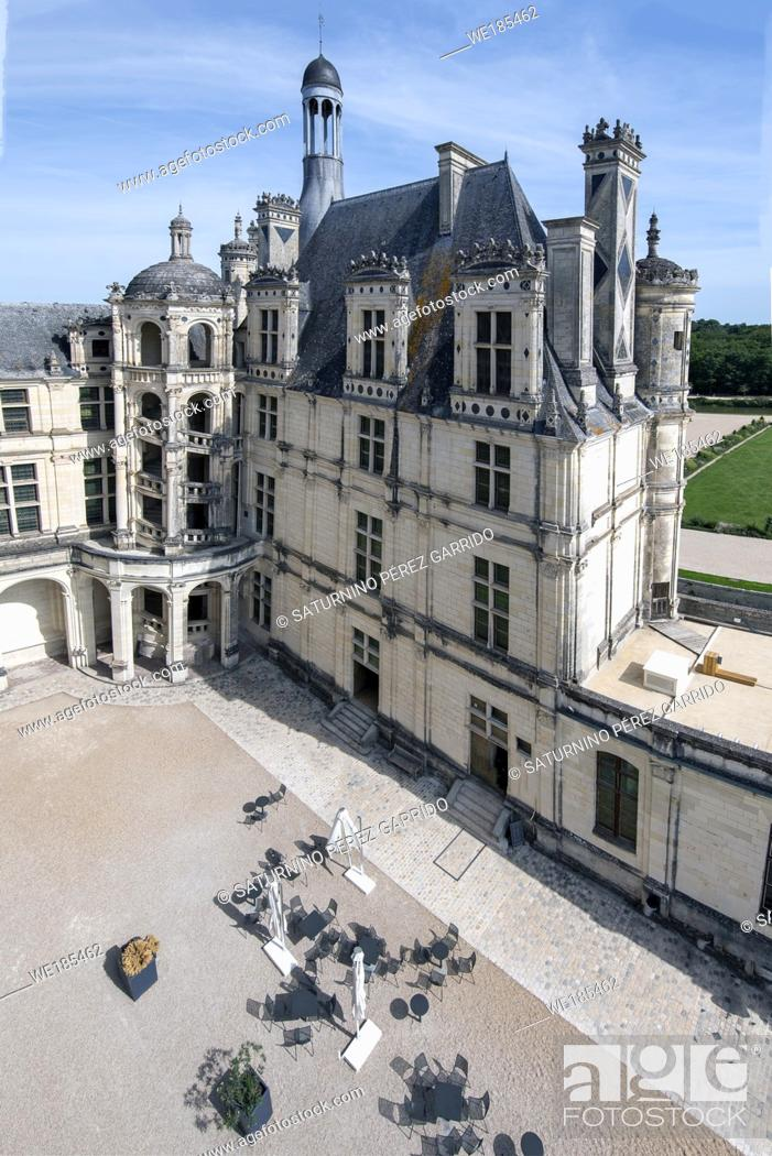 Stock Photo: Inside face of Chamborb Castle with external stairs.