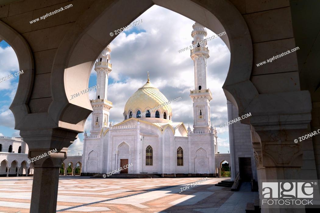 Stock Photo: The White mosque in Bulgar Tatarstan.